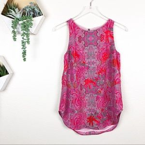 CAbi jubilee pink paisley print tunic top